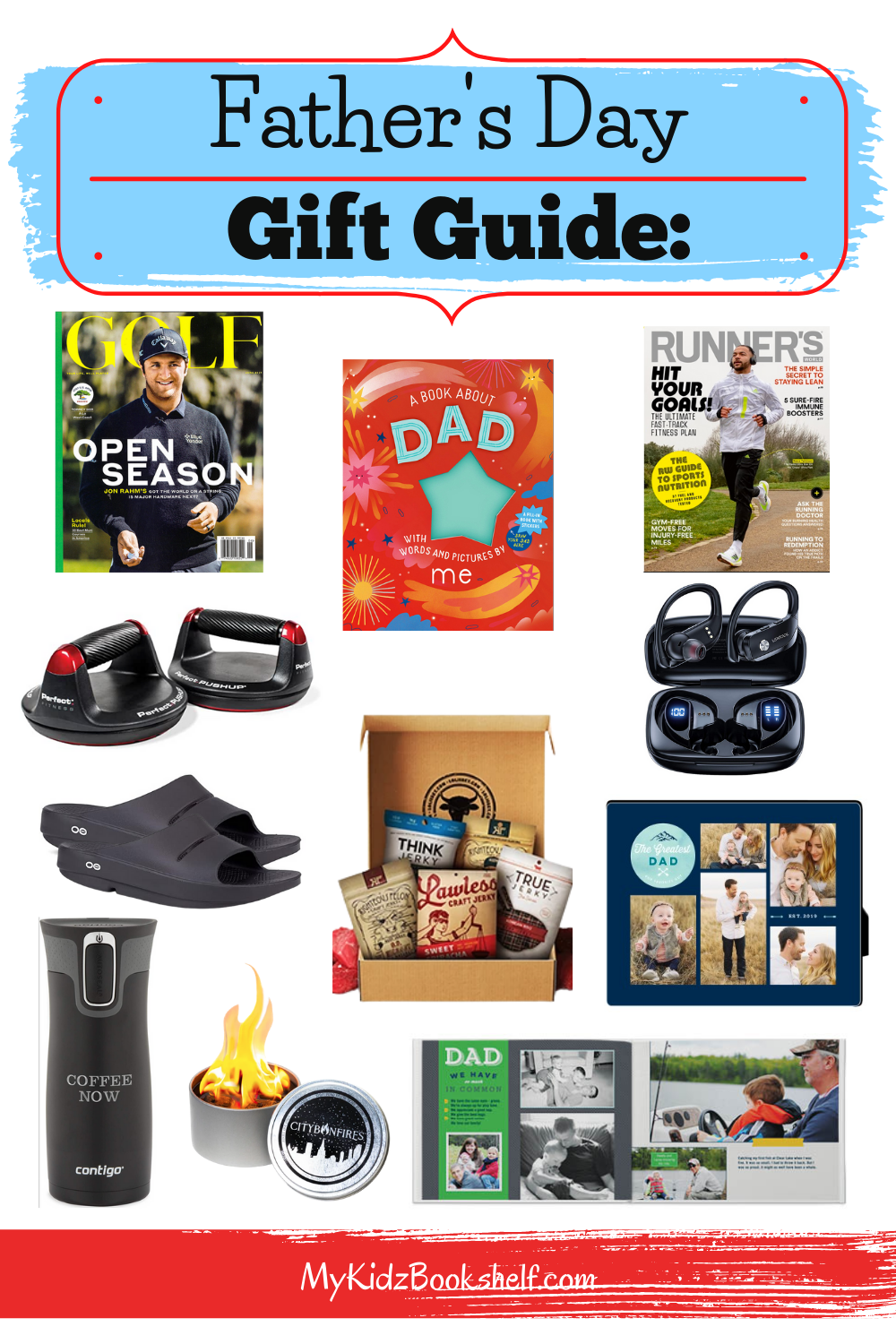 Father's Day Gift Guide Pinterest pin with gifts for guys ideas