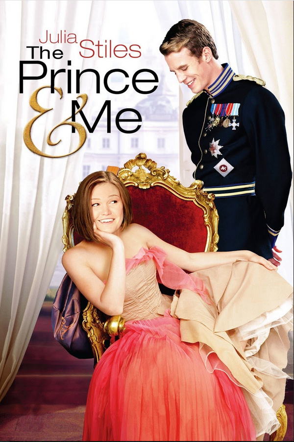 movie poster for The Prince and Me shows Julia Stiles sitting in royal chair with young prince standing over her
