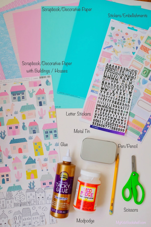 DIY Tiny House Tin box craft - craft supplies including scrapbooking paper, stickers, and metal tin