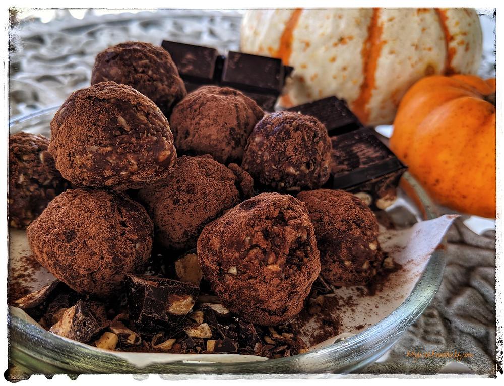 Morning Mocha Energy Ball Truffles no bake chocolate truffles on plate