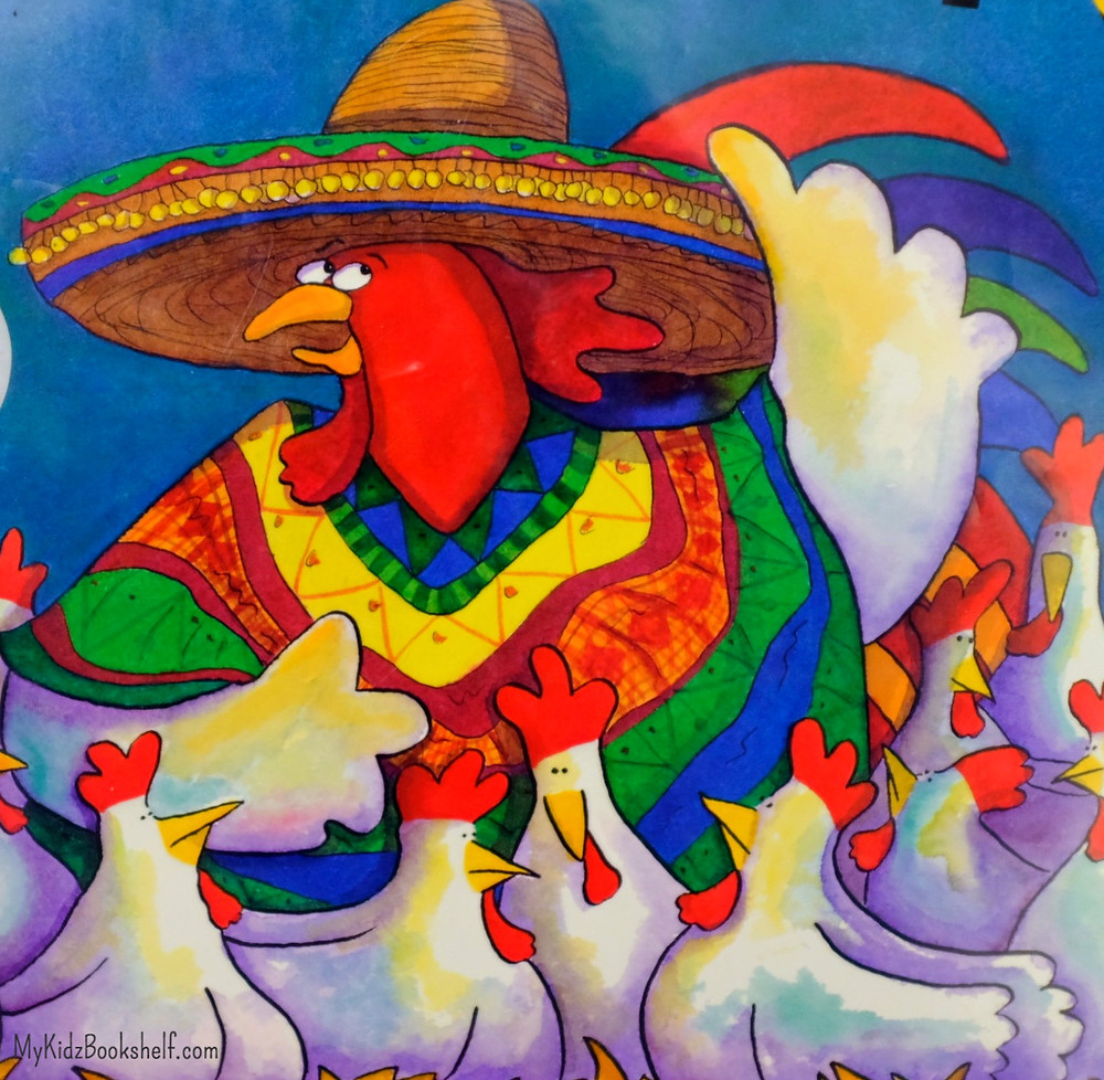 rooster dressed in Mexican sombrero and colorful poncho from bookcover of Chicks and Salsa by Paulette Bogan