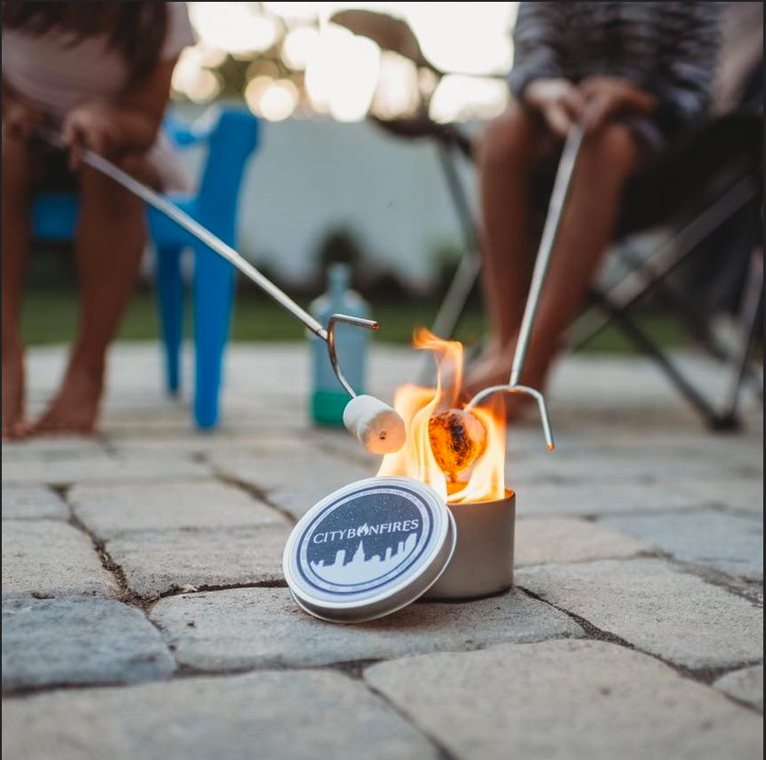 city bonfires mini fire pit with marshmallow