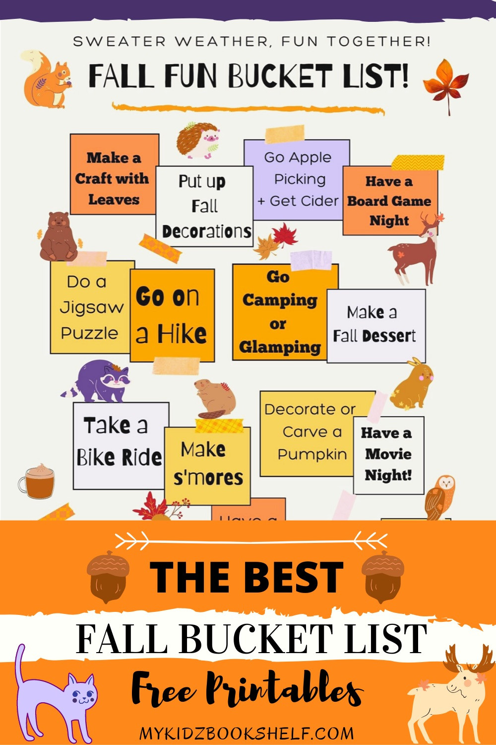 Fall Fun Bucket List Free Printables Message Board styles with animals and acorns