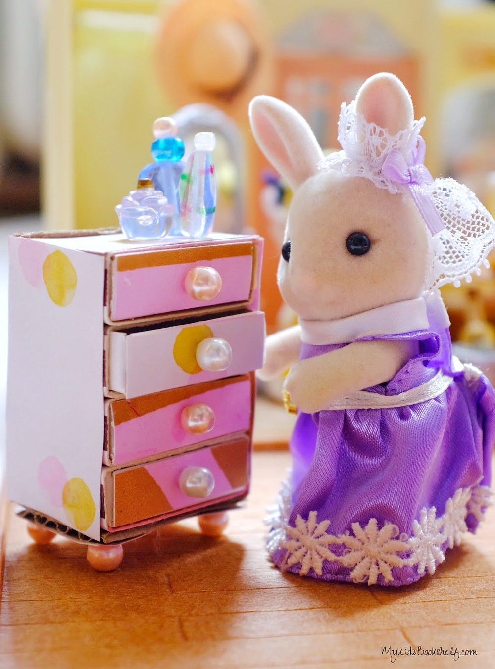 DIY Make Your Own Mini Matchbox Dresser Mykidzbookshelf.com with Sylvanian family bunny