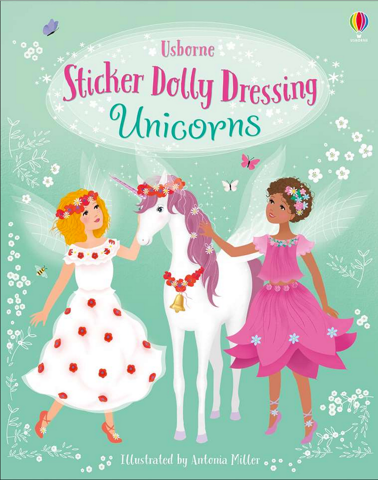 Usborne Sticker Dolly Dressing Unicorns book cover with two fairies and unicorn on cover