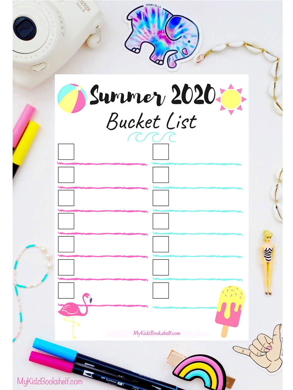 Summer 2020 Bucket List Free Printable blank with beach ball and sun