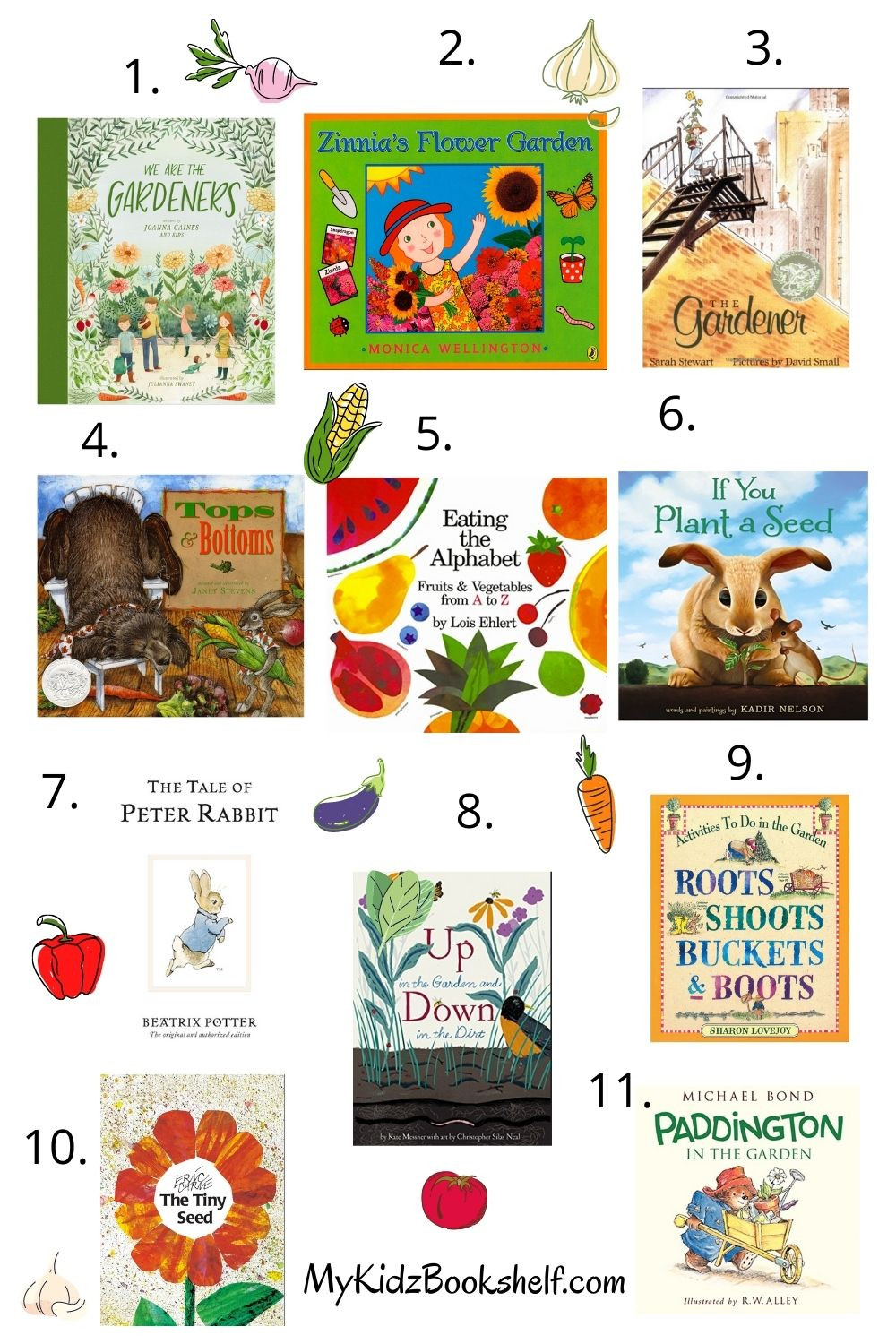 Various picture books featuring gardening by different authors Paddington, Joanna Gaines, Eric Carle, Beatrix Potter
