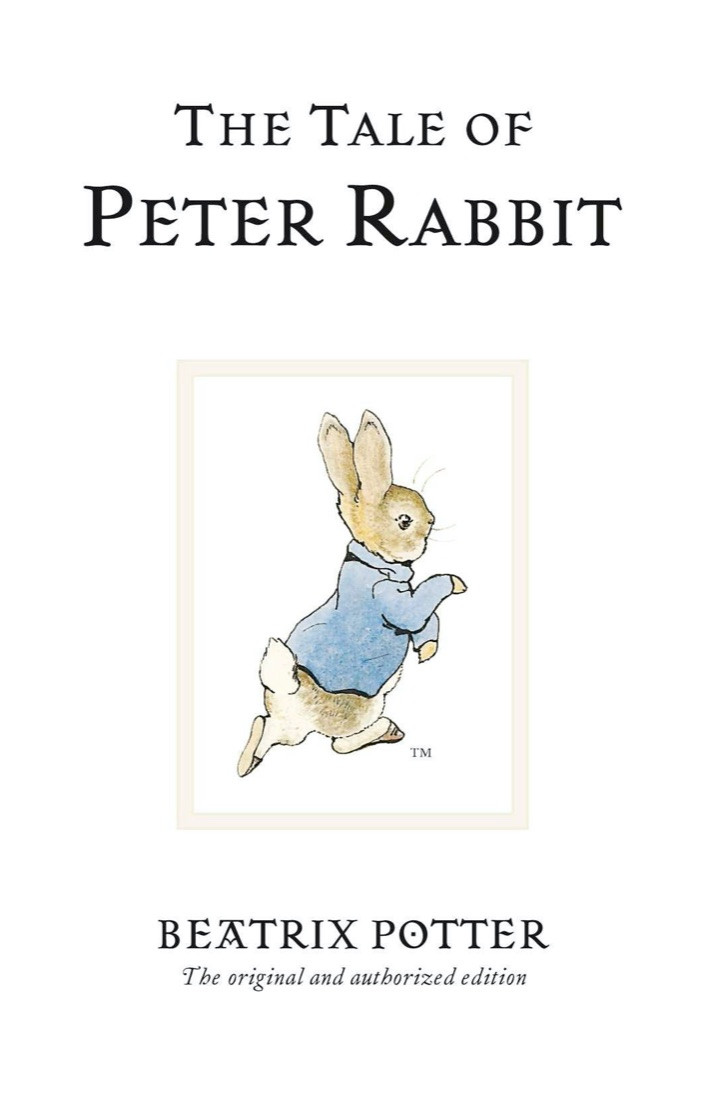 Book cover of The Tale of Peter Rabbit by Beatrix Potter bunny dressed in a blue jacket on the cover