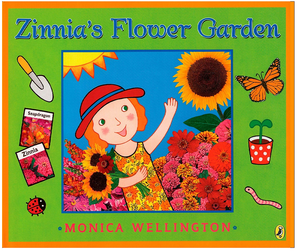 Picture book Zinnia's Flower Garden shows girl holding sunflower in flower garden