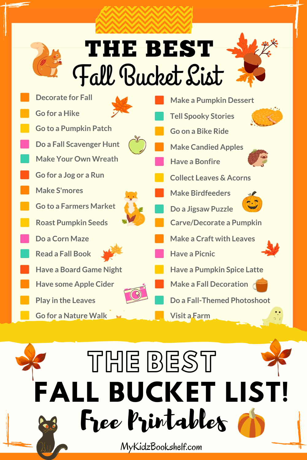 Fall bucket list free printables