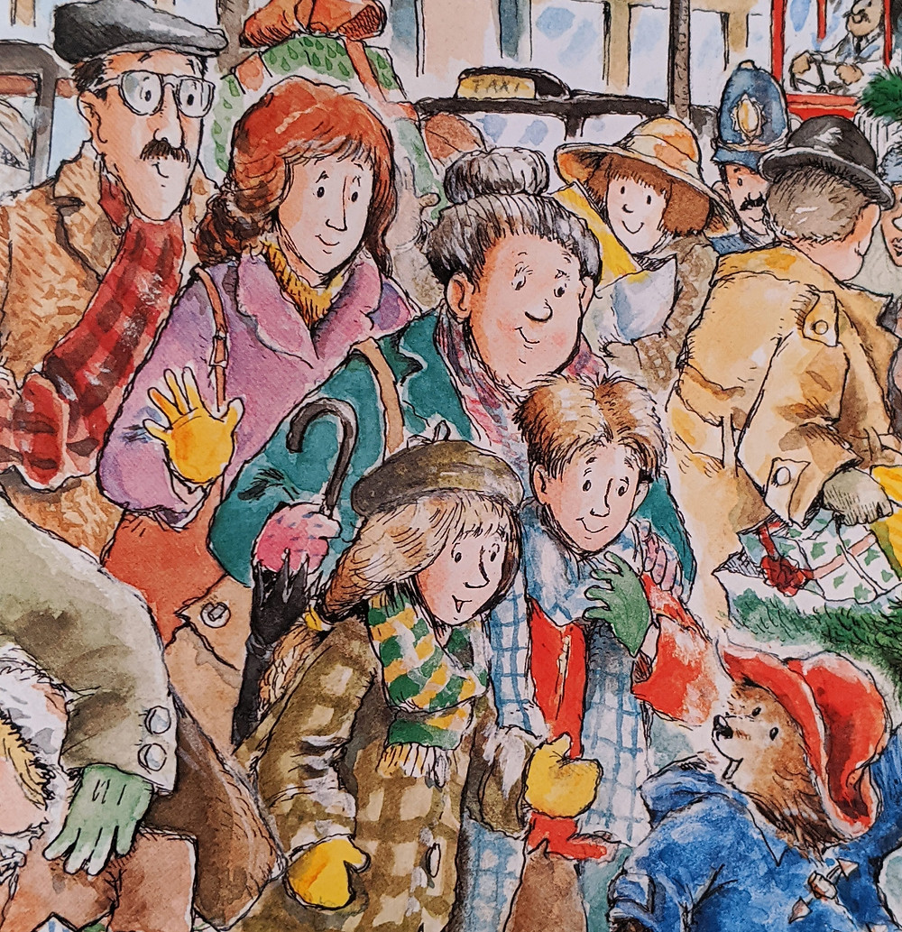 Scene from Paddington book with the Brown family and Paddington