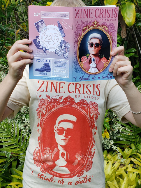 Promotional photo for Episode 2 zine and collectible t-shirt (art by Eloise Jarman).
