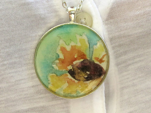"""Sunflower in Resin"" Watercolor in Resin Necklace"