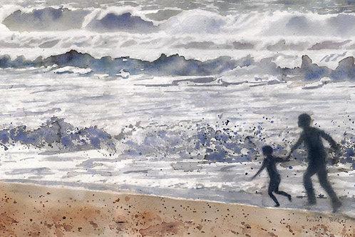 """""""Beach Boys"""" Child Children on Beach Landscape Art Giclée"""