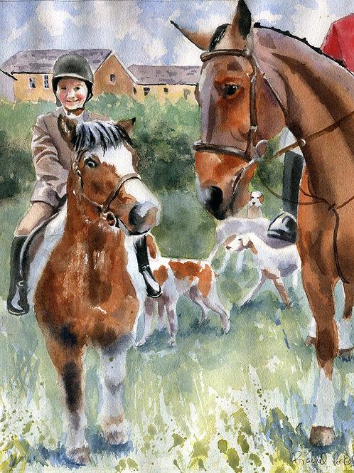 """Junior Foxhunter"" 11x14"" Watercolor"
