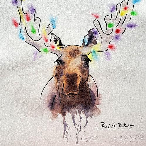 """Moose 1, Christmas Tree 0 Study"" Original  Watercolor"