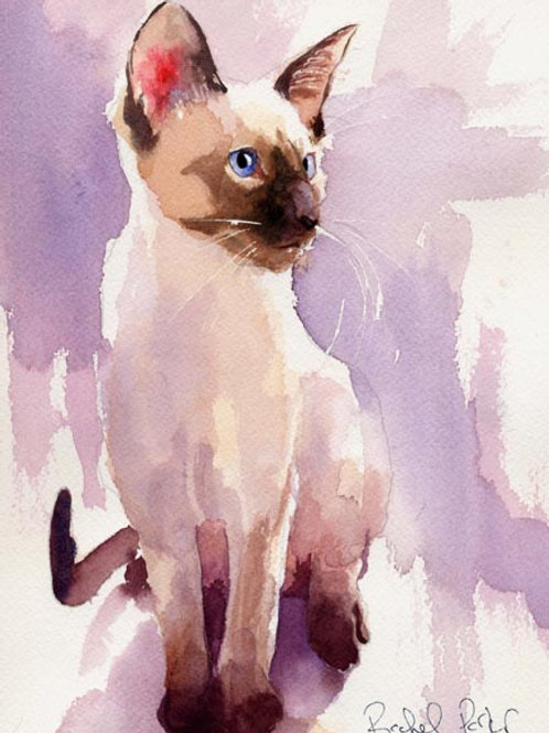 """Sit with Lavender"" Siamese Cat Giclée"