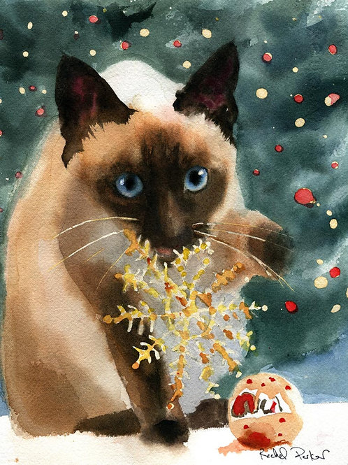 """Christmas Star"" Siamese Cat Giclée"
