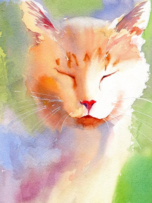 """I Purr Therefor I Am"" Tabby Cat Giclée"