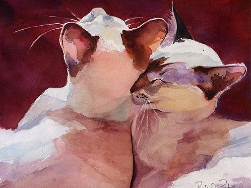 """""""Snuggle"""" Siamese Cat Giclée"""