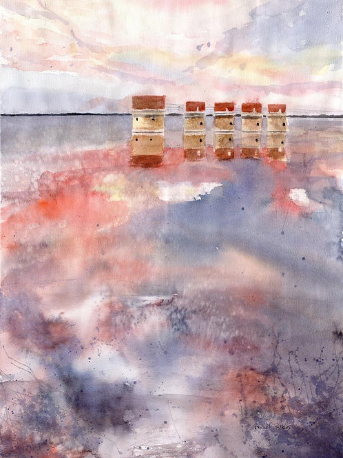 """Stormy Sunset"" Original Watercolor Lake Murray Dam Art 28"" x 20"""