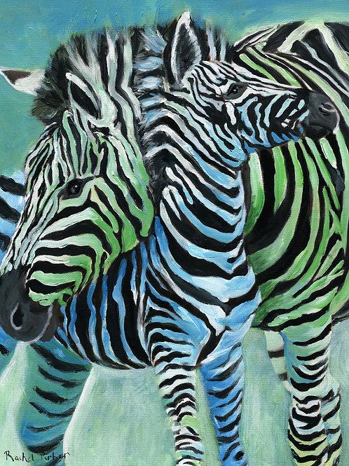 "Giclée print of ""Zebra Mama"" Acrylic Painting"