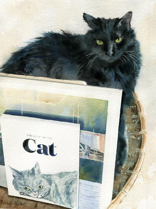"Giclée of ""Black Cat Book Basket"" art print"