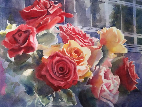 """Dad's Roses"" Original Roses Watercolor Painting"