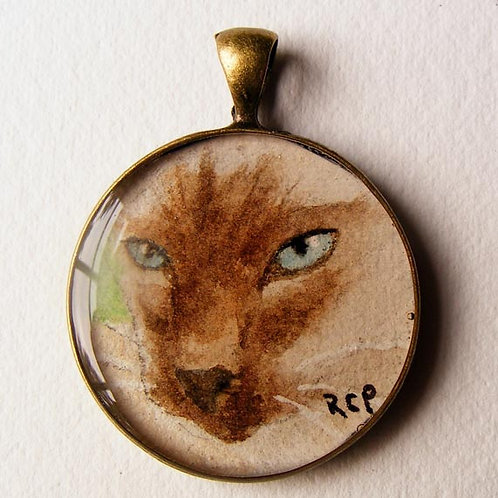 """Siamese in Resin"" Watercolor in Resin Necklace"