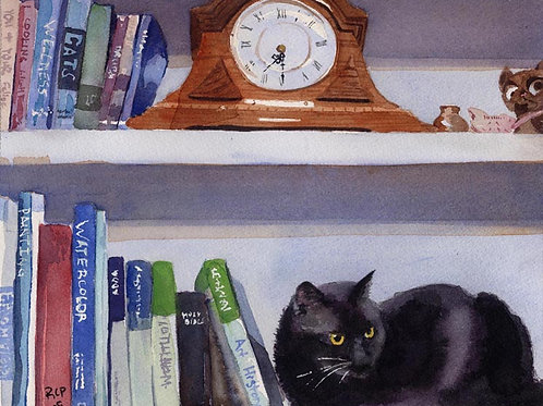 """""""Sadie's Shelf"""" Black Cat Giclée"""