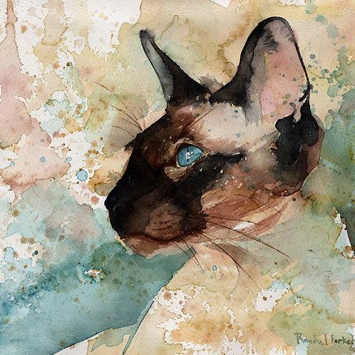 """On Window Watch"" Siamese Cat Giclée"