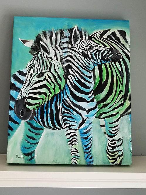 """Zebra Mama"" 20x16"" Original Acrylic Painting"