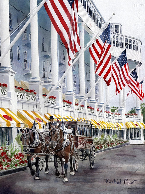 """The Grand Hotel"" Original Watercolor Mackinac Island Michigan"