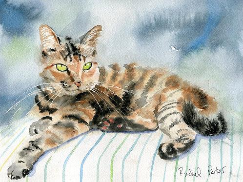 """""""Stripes on Stripes Tabby Cat"""" Giclée"""