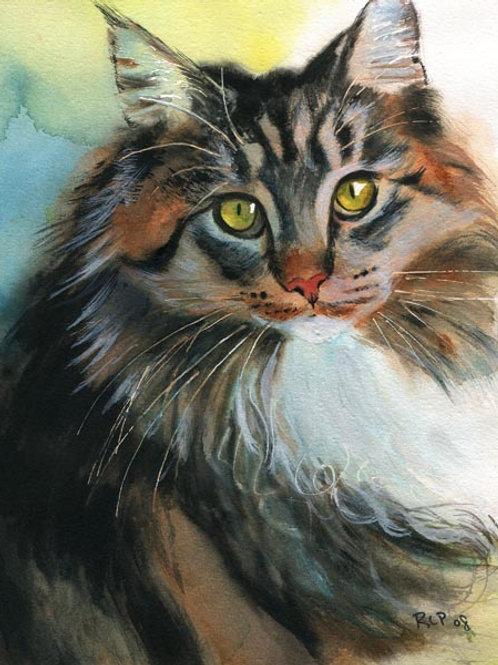 """""""Karen's Maine Coon"""" Tabby Cat Giclée"""