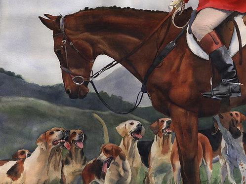 """""""Hunt Horse Hounds"""" Foxhunt Giclée"""