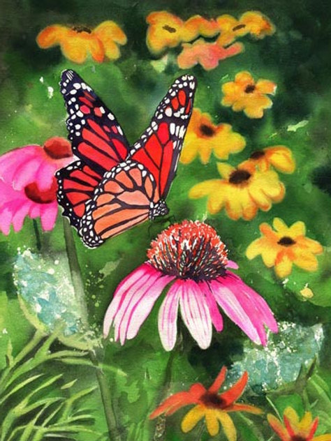 """Monarch on Cone Flowers"" Giclée"