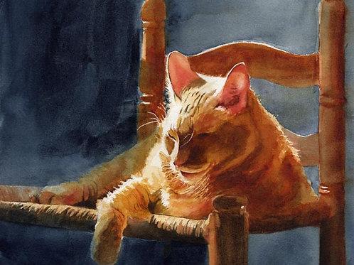 """Hum's Slice of Sun"" Tabby Cat Giclée"