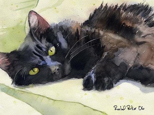 """Sadie on Green"" Black Cat Giclée"