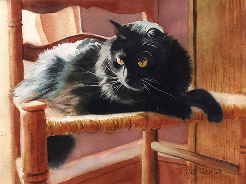 """Her Throne"" Black Cat Giclée"