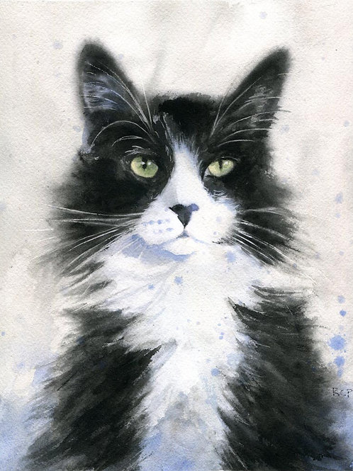 "Giclée of ""Tuxedo Splash"" Tuxedo Cat art"