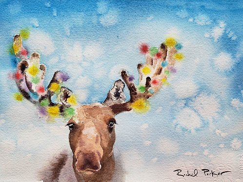 """Moose 1, Christmas Tree 0"" Art Print"