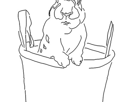 Line Drawing for Easter Bunny Watercolor Painting Tutorial
