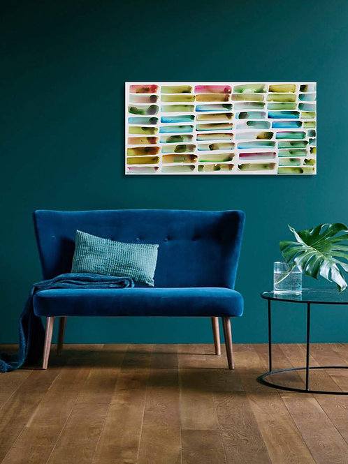 """Color Bars, Azores Garden"" Original Abstract Watercolor Painting"