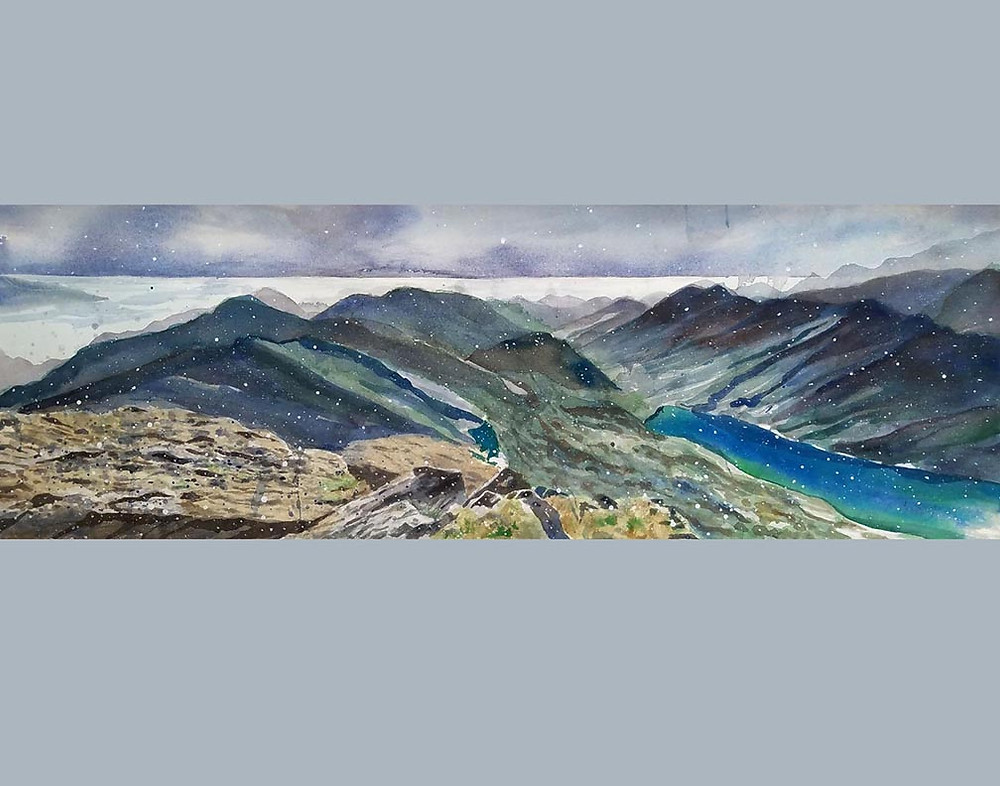 This is a painting of the Alaska landscape.  The area is called Suicide Peaks.