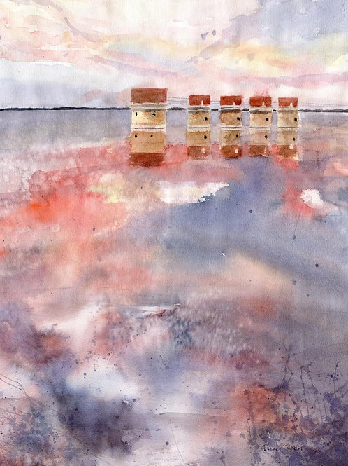 """Stormy Sunset"" Lake Murray Dam in South Carolina Art Giclée Print"