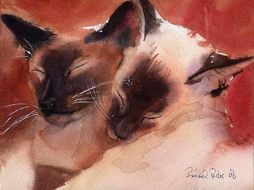 """Happy Pair"" Siamese Cat Giclée"
