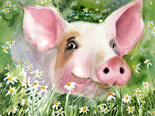 """""""Pig in Daisies"""" Giclée"""