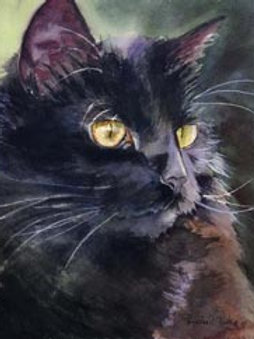 """On Alert"" Black Cat Giclée"