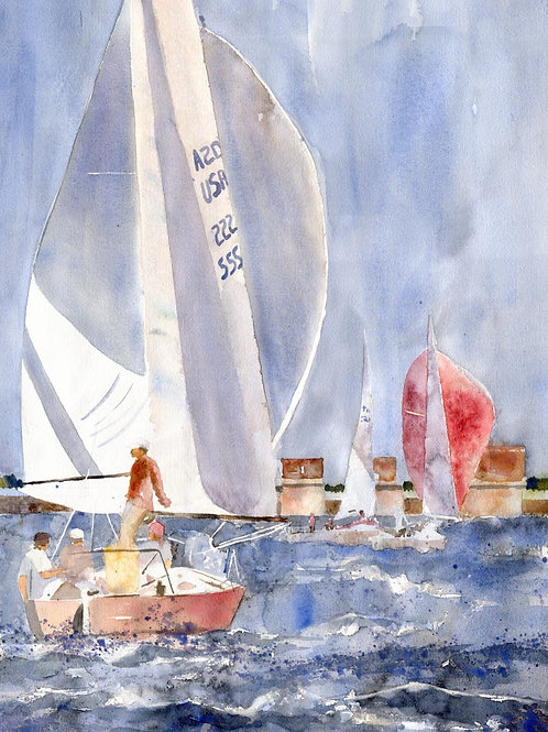 """Dam and Sails"" Lake Murray South Carolina Giclée"